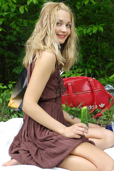 Model Lilya in Picnic by the Pond